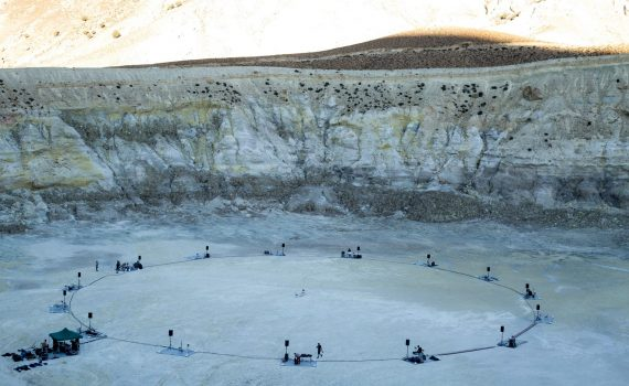 Application of Fibralco S.A. geotextile in volcanic floor in Nisyros
